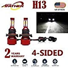 2Pcs H13 LED Headlight Bulbs Conversion Kit 9008 Car Headlamp Bulbs 20000LM 6000K Cool White Hi Lo Double Beam DRL Fog Light Replacement, with 4-Side Chips - Plug and Play