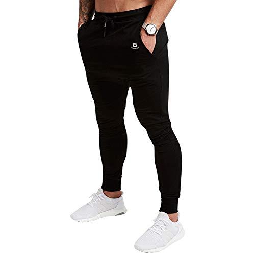 Samy ジョガーパンツ メンズ トレーニングパンツ ジム フィットネス スリム スウェットパンツ CK-155 ブラック L