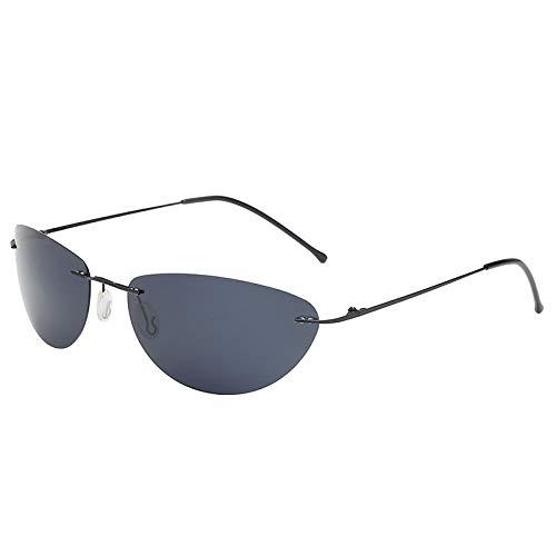 HYwang Gafas De Sol Gafas De Sol Polarizadas De Titanio Ovaladas Sin Marco Ultraligeras Gafas De Sol De Conducción Para Hombres