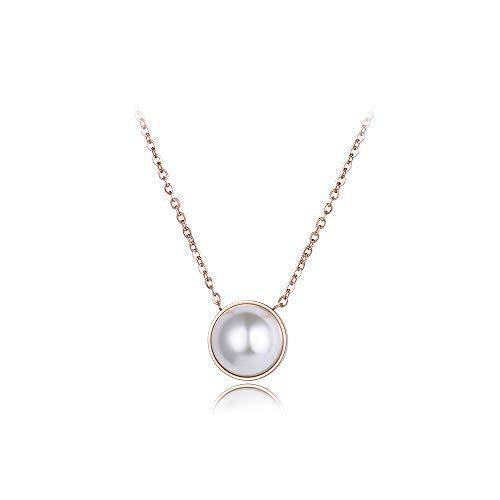 HUIHH Classica Collana di Perle Artificiali Bianche E Collana A Maglie in Acciaio al Titanio Collana in Oro Rosa con Colletto per Donna in Acciaio