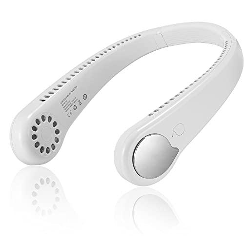 Fan Ventilador Portátil Recargable,Ventilador de Manos Libres,3 Velocidad USB Colgante Cuello Abanico Viajes Deportivo Fan,Ventilador con Doble Cabeza Giratorio de 360°,para Viajes de Oficina.