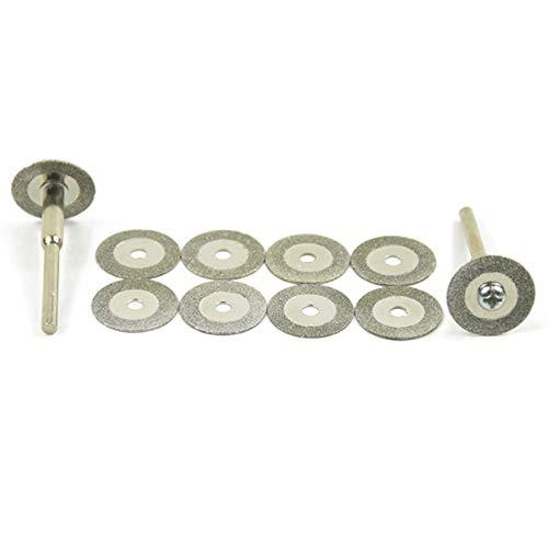 LONGWDS Cuchillas Los Discos de Corte 5pcs / Set de 22 mm Mini Diamante Hoja de Sierra con 1X Conexión de la caña de FOR Dremel Taladro Herramienta Rotatoria Fit