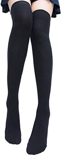 Eholder Overknee Strümpfe, Overknees Strümpfe Damen, Überknie Strümpfe, Uberknie Strumpfe, Lange Over Kniestrümpfe Damen, Overknee Socks (Schwarz Herbst/Winter)