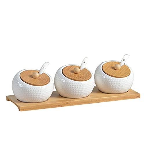 QLIGHA Suministros de Cocina para el hogar Tarro de condimento Vinagrera de cerámica Botella de Sal y Pimienta Bandeja de bambú Herramienta de condimento de Cocina Tanque de Almacenamiento