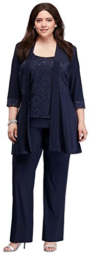 Plus Size Mock Two Piece Lace and Jersey Pant Suit Style 7772W, Navy, 16W (Apparel)