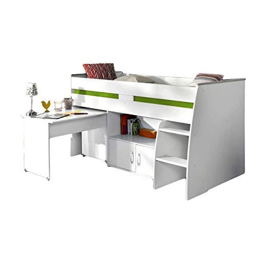 Hochbett Aljoscha weiß inklusive Schreibtisch + Kommode + Ablagefach + Lattenrostplatte Spielbett Jugendzimmer Kinderzimmer Kinderbetten