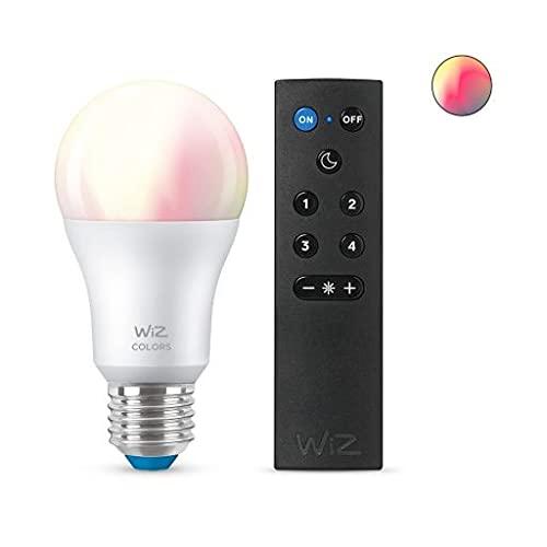 Bombilla LED Smart WiFi + Bluetooth E27 Casquillo Gordo A60 RGB+CCT Regulable WIZ 8W con Mando Smart WiFi WIZ Wizmote RGB+CCT