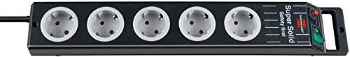 Oferta de Brennenstuhl Super-Solid regleta enchufes con 5 tomas de corriente y carcasa estable de policarbonato (cable de 2.5 m, para interiores) negro/gris