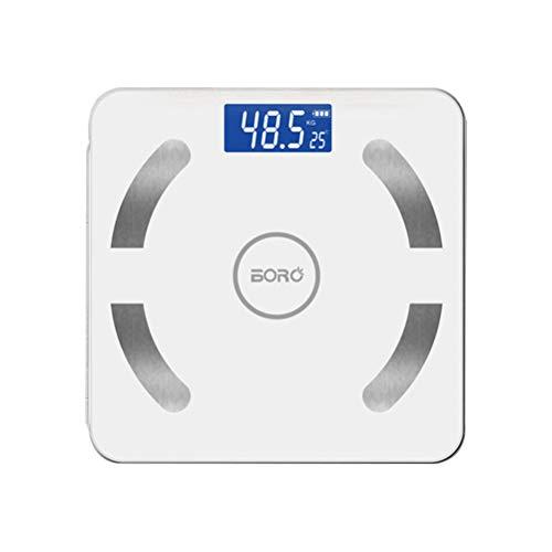LIOOBO - Báscula de peso corporal con Bluetooth inteligente, báscula digital para análisis corporal, sin batería incluida (blanco), Blanco