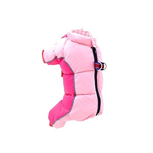 wojonifuiliy Haustier Hund Camouflage Mantel, Baumwolle Gefütterte Kleidung Winddicht Schneeanzug Manteljacke vierbeiniger Baumwollmantel Winter Hund Jacke Haustiere Bekleidung (Pink, L)