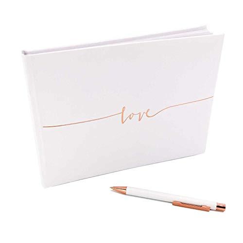 Katinga Golden Love gastenboek met bijpassende balpen, perfect voor bruiloften en burgerlijke of als jaarboek ros�goud.
