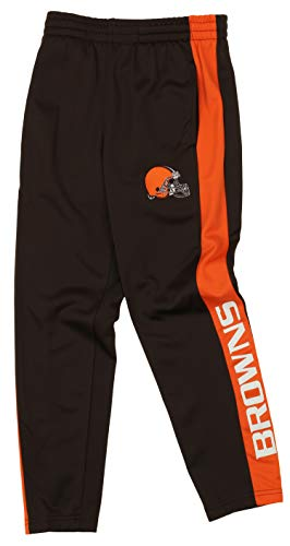 Outerstuff NFL Youth Boys (8-20) Side Stripe Slim Fit Performance Pant, Cleveland Browns Small (8)>