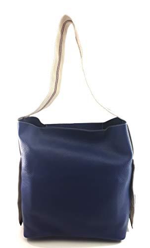 DIMONI Bolso de hombro en piel y asa en algodon Mujer Made in Spain 32 X 33 X 17 CM