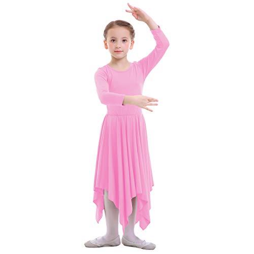 OBEEII Vestido de Liturgico Danza Niñas Vestido Maillot Leotardo Gimnasia Disfraz de Baile Clásica Combinación para Bautizo Danza Iglesia Ceremonia Casual 001 Rosa 3-4 Años