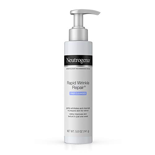 Neutrogena Rapid Wrinkle Repair Anti-Wrinkle Retinol Prep Facial Cream Cleanser with Glycolic Acid and Micro-Exfoliant to Gently Cleanse and Exfoliate Skin, Oil-Free and Non-Comedogenic, 5 oz