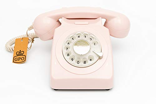 GPO 746 Rotary Retro Phone - 1970s-style Landline Telephone with Curly Cord and Authentic Bell Ring - Carnation Pink