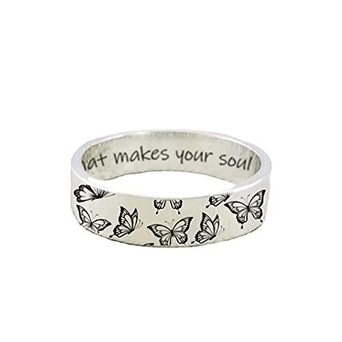 minjiSF Anillo de mariposa tallada para mujeres y mujeres, de acero inoxidable, con texto en inglés, plata creativa, no se decolora, hecho a mano, regalo de joyería (plata E, 9)