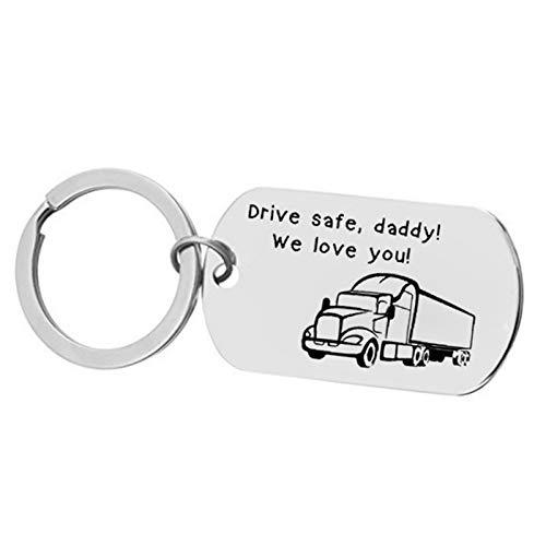 DOLOVE Schlüsselanhänger Gravur Freundschaft Schlüsselanhänger Edelstahl Dog Tag Drive Safe, Daddy! We Love You! Schlüsselanhänger Männer Mit Gravur
