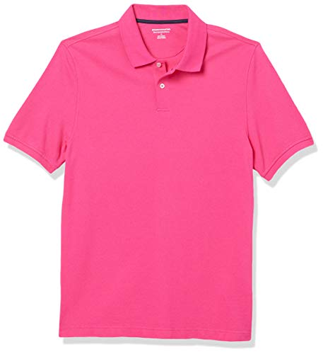 Amazon Essentials Slim-fit Striped Cotton Pique Poloshirt, Pink, M