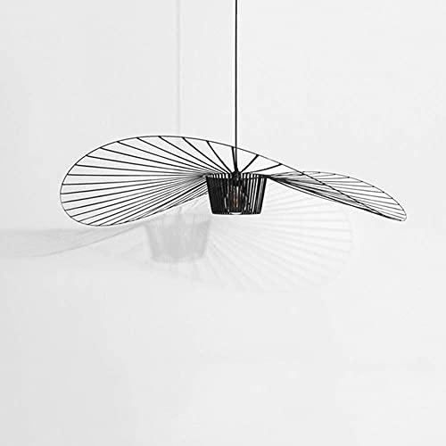 Suspension Rétro Vertigo Lustre, Fibre De Verre + Chapeau En Tissu De Fibre Design Moderne Salon Cuisine Salle De Bain Éclairage Décoratif, E27 (Black, 100cm)