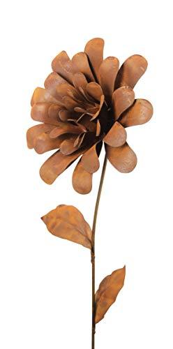 Unbekannt Gartenstecker Blume Metall Rost Gartendeko Edelrost Dahlie
