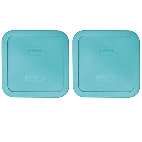 Pyrex 8704-PC Turquoise Square Plastic Storage Lids - 2 Pack