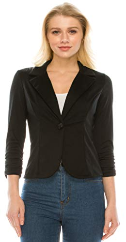 YourStyle USA Casual Blazer Jacket – Classic 3/4 Ruched Sleeve Collar Button Solid Work Office Business with Plus Size 3714 Black M
