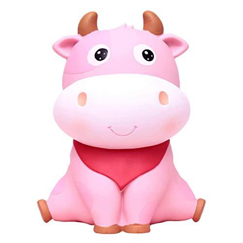 Alcancía Año Nuevo Chino Vaca Coin Bank Resina Escritorio Animal Muñeca Adorno Rosa