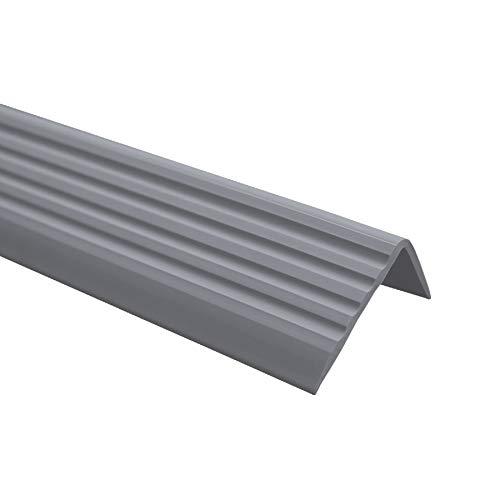 Nez de marche profilé descalier, PVC, adhésif et antidérapant, gris foncé, 40x25, 80cm, ND