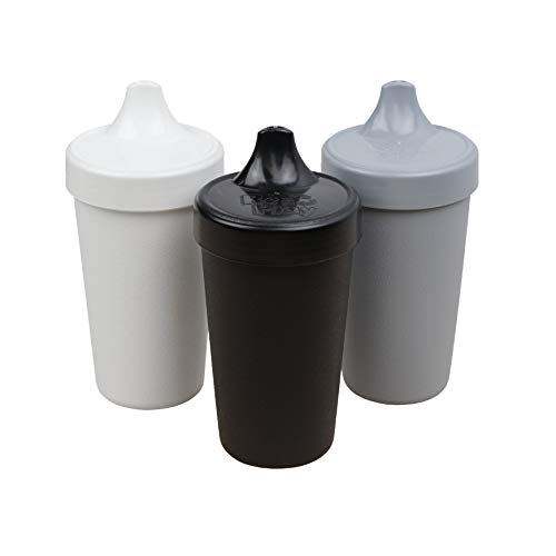 RE-PLAY Made in USA 3pk - 10 oz. No Spill Sippy Cups | White, Black, Grey | Eco Friendly Heavyweight Recycled Milk Jugs | Virtually Indestructible | BPA Free | Monochrome