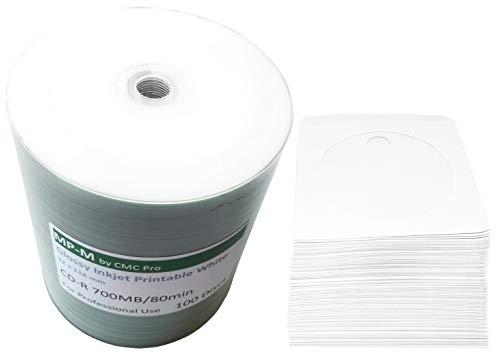 100 Glossy Bedruckbare CD Rohlinge MP-Pro CD-R 80min/700MB Hi-Res Wide Inkjet Printable weiß, glänzend vollflächig bedruckbar für Tintenstrahldrucker + GRATIS 100 CD Papierhüllen mit Folienfenster