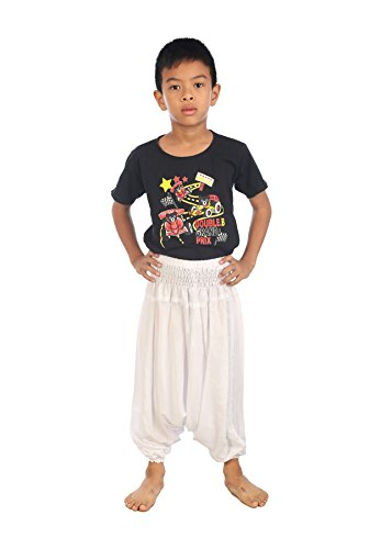 Lofbaz Mädchen Kinderhose Haremshose Jumpsuit einfarbig Weiß Größe 5-6Y