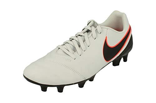 Nike Tiempo Genio II Leather FG Mens Football Boots 819213 Soccer Cleats (UK 6.5 US 7.5 EU 40.5, Pure Platinum Black 001)