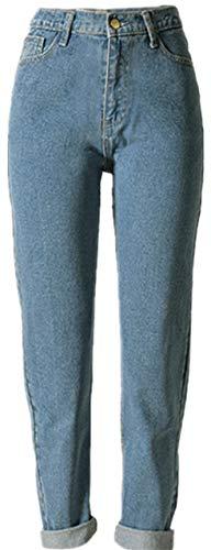 Bestfort Damen Jeans hellblau Stretch-Denim Frauen hohe Taille Denimhose Casual Hose Füße Normale Bund Casual elastische Jeanshose