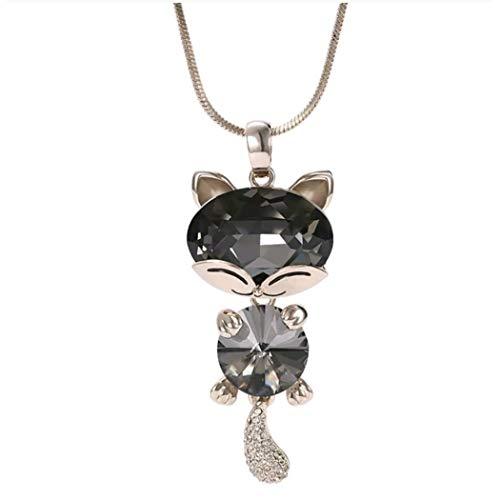 Marni's - Colgante en Forma de Gato Decorado con Cristales - Cadena Larga - Regalos Originales para Mujer - Disponible en Dos Colores - Regalo Dia de la Madre o cumpleaños (Amarillo)