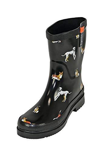 Regenliebe Damen Gummistiefel Waldi Kurzschaft Regenstiefel Hunde Motiv, Farbe:schwarz, Größe:39 EU