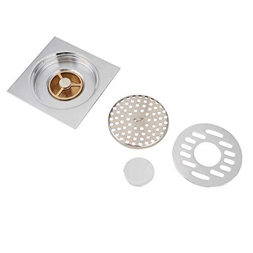Bodenabläufe, Nicht korrosiv Rostfrei Silber Kupfer Bodenablauf Quadrat Bodenablauf, für Badezimmer Küche Keller Balkon