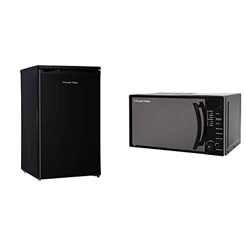 Russell Hobbs RHUCLF2B Black 50 cm Wide Under Counter Freestanding Larder Fridge, Free 2 Year Guarantee & Hobbs RHM1714B 17 Litre 700 W Black Digital Solo Microwave with 5 Power Levels