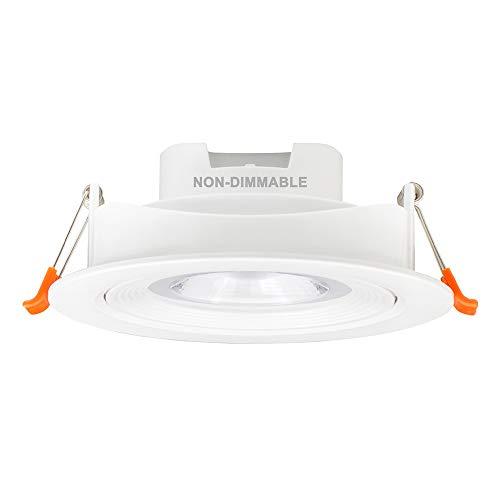 Lampara Plafon Foco Downlight Empotrable LED para Techo Inclinado 12W Orientable Ángulo de Haz 40° 3000K y 4000K y 5000K Agujero de Techo Diámetro 120-130MM Lot de 1 de Enuotek