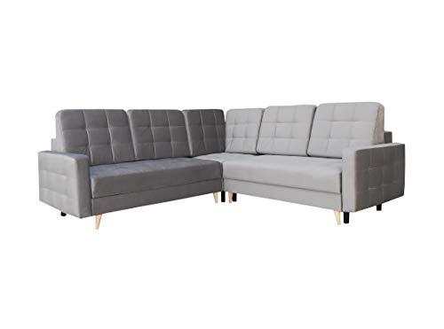 Ecksofa mit Schlaffunktion mit Bettkasten Sofa Couch L-Form Polstergarnitur Wohnlandschaft Polstersofa mit Ottomane Couchgranitur - LESLO IIIII (Grau, Ecksofa Links)