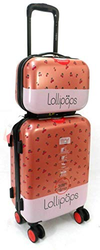 Lollipops Paris 20' Cabin Trolley & Vanity CASE 2PC Travel Set Suitcase Hand Luggage 8 Wheels Hard Shell Upto 40L