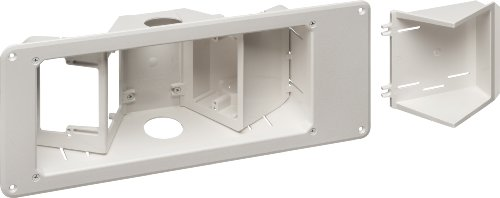 Arlington Industries TVB713 3-Gang Angled TV Box Recessed Outlet Wall Plate Kit, White, 1-Pack