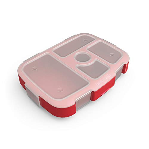 Bentgo Kids Prints Tray with Transparent Cover - Reusable, BPA-Free, 5-Compartment Meal Prep Container with Built-In Portion Control for Healthy At-Home Meals and On-the-Go Lunches (Rocket) (Healthy Things To Snack On At Night)