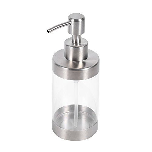 Dispensador de jabón, desinfectante para manos, fertilizante, gel de ducha de relleno ancho, bomba de acero inoxidable, hecho de metal, acrílico