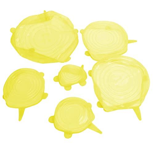 Jacksing Cubierta para sellar Alimentos, 6 Piezas Cubierta para Almacenamiento de Alimentos Tapa expandible no tóxica para refrigerador para Uso en la Cocina(Yellow)