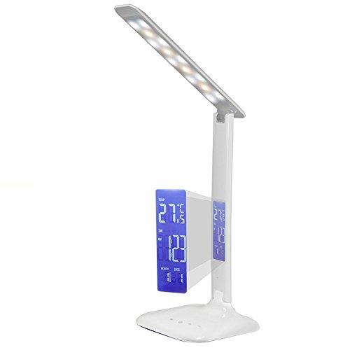 Eonhuyu Bureaulamp, inklapbare instelbare Touch Control dimbare LED bureaulamp met digitale thermometer kalender wekker op LCD-scherm (wit)