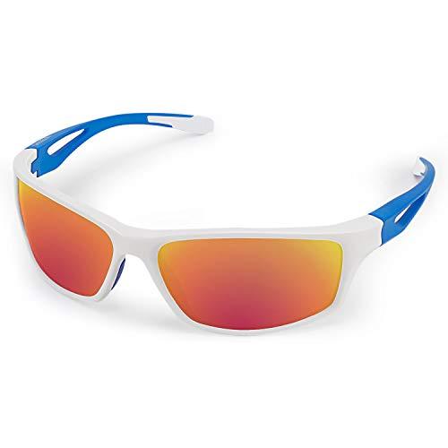 CHEREEKI Occhiali da Sole Sportivi, Occhiali da Sole Sportivi Polarized con Protezione UV400 e TR90 Unbreakable Frame, per Uomini Donne Esterni Sport Pesca Ski Driving Golf Corsa Ciclismo Campeggio
