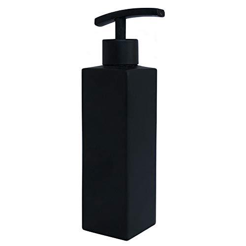 Hand Soap Dispenser, Modern Square Stainless Steel Liquid Bottle, 12oz/350ml Refillable Countertop Soap Dispenser for Kitchen and Bathroom, Matte Black