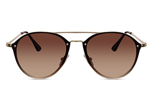 Cheapass Gafas de sol redondas Piloto Puente Doble lentes marrones protección UV400
