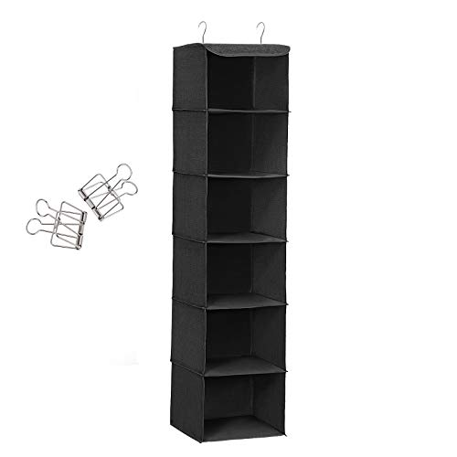 SONGMICS Hanging Storage Shelves, 6-Tier Closet Wardrobe Organiser and Hanging Bag with 2 Clips, 30 x 30 x 130 cm (L x W x H), Black RCH06H